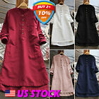 Women's Tunic Collar Shirts Long Sleeve Tops Solid Loose Blo