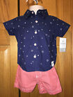 NWT CARTERS Boys 2 Piece Patriotic Outfit, Button Shirt & Shorts, Stars/Stripes