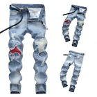 Mens Jeans Street Ripped Jeans Patch Straight Leg Beggar Patch Denim Trousers