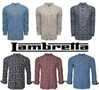 Lambretta Paisley Shirts Mens MOD Retro Long Sleeve Cotton Button Down UK S-3XL