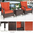 3 Pcs Outdoor Garden Patio Rattan Wicker Furniture Table Chairs Set 2 Color Us