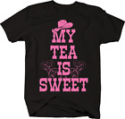 My Tea is Sweet Pink Cowgirl Hat Country Loving Redneck Riding T-shirt