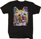 Colorful Yorkshire Terrier Puppy Dog Tongue Out Smiling Animal T-shirt