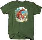 Red Lobster Down in Ocean Water Seashell Coral Aquatic Animal T-shirt