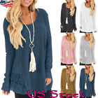US Plus Size Women Long Sleeve Pullover Jumper Autumn Loose Tops Blouse Sweater