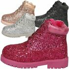 NEW GIRLS SHOES KIDS LACE UP GLITTERY ANKLE BOOTS CASUAL CHILDRENS STYLE SIZE