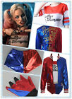 Harley Quinn DC Comics Full Costume Set w/Polyester Jacket for Halloween Cosplay