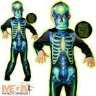 Neon Skeleton Boys Halloween Fancy Dress Glow in the Dark Childrens Kids Costume