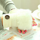 Women Winter Warmer Faux Rabbit Fur Hand Wrist Knitted Fingerless Gloves Mittens