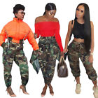 Women Hot Sale Fashion Camouflage High Waist Pocket  Casual Club Loose Trousers