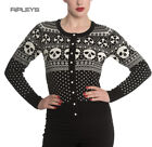 Hell Bunny Black Top CLARA CARDIGAN Skull Christmas Festive White All Sizes