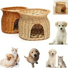 2 Tier Wicker Dog Soft Warm Kennel House Pet Kitten Puppy Cushion Bed Mat Cave