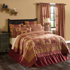 New Farmhouse Red Check BURGUNDY STAR Patchwork Quilt Bedding Pillows YOU CHOOSE image