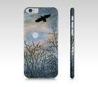 Cell Phone Case for Iphone Galaxy Landscape 458 bird crow art painting L.Dumas