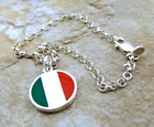 Sterling Silver Flag Colors of  Italy Charm on  Sterling Rolo Bracelet - 1104