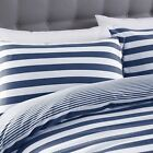 Silentnight Jersey Cotton Stripe Duvet Cover & Pillowcase Bedding Set, Navy