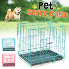 Portable Dog Pet Cat Crate Cage Kennel Folding Door Tray Travel Metal Playpen