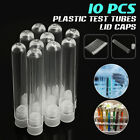 10Pcs Plastic Clear Lab Laboratory Test Tubes Vial Sample Containers w/Lid Caps