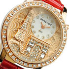Fashion Women Lady Eiffel Tower Dial Faux Leather Band Quartz Wrist Watch Luxury image