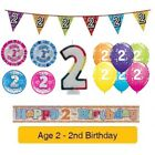 Happy 2nd Birthday - AGE 2 - Party Balloons Banners Decorations Badges Helium