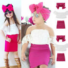US Kid Baby Girl Off shoulder Lace Tops T-shirt Skirts headband 3pcs Outfits Set