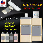 256 512GB USB Flash Drive Memory Stroage Stick 3 in 1 For Android IOS iPhone PC