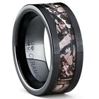 Black Ceramic Hunting Camo Ring with Real Forest Trees Wedding Band