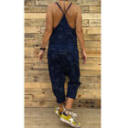 Womens Spaghetti Strap Camouflage Print Casual Club Party Long Jumpsuit Romper