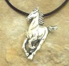 Sterling Silver Running Horse Pendant on 2mm Black Leather Necklace -1447