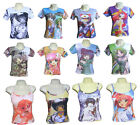 Ladies Womens Manga Anime Retro Anime T-shirt Strappy Top Vest Singlet 8-12 New