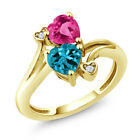 1.78 Ct Heart Shape London Blue Topaz Pink Created Sapphire 10K Yellow Gold Ring