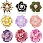 Pearl Crystal Round Breastpin Lady Women Plant Flower Brooch Pin Wedding Jewelry image