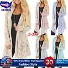 2019 Women Lace Patchwork Long Sleeve Casual Pure Color Cardigan Coat Plus Size