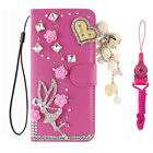 3D Nice Flip Bling Wallet Stand Case Crystal PU Leather Cover For ZTE & 2 straps