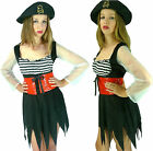 Ragged Lady Pirate Maid Wench Fancy Dress Costume + Hat - S M L (8 10 12 14 16)