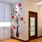 Hot Diy Vase Flower Tree Crystal Arcylic 3d Wall Stickers Decal Home Decor Us H8