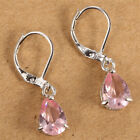 Women Fashion 925 Silver Pink Sapphire Drop Dangle Earrings Wedding Jewelry