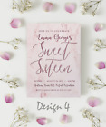 Personalised Sweet Sixteen Party Invitations & Thank You Cards | Rose Gold Theme