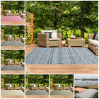 Outdoor Patio Geometric Flatweave Rugs Easy Clean Spill Proof Washable Table Rug