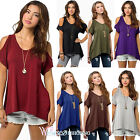 Women Crew Neck Summer Cold Shoulder Short Sleeve Loose Casual Top Plain T-Shirt