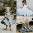 Baby Girls Summer Ruffles Sleeve Linen  Toddler Kids Dresses