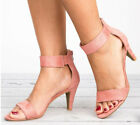 Womens Stiletto Kitten Heels Sandals Ladies Ankle Strap Summer Casual Shoes Size