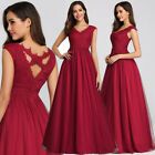 Ever-Pretty Burgundy Lace V-neck Long Evening Dress A-line Lace Prom Gowns 07799