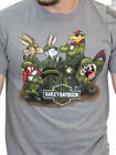 Harley-Davidson Looney Tunes Mens WW2 Army Short Sleeve Ash Grey Biker T-Shirt image