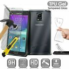 For Samsung Galaxy Soft Silicone Clear TPU Gel Case Cover + Tempered Glass
