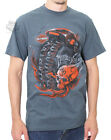 Harley-Davidson Mens Obsession Flaming Skull Slate Blue Short Sleeve T-Shirt image