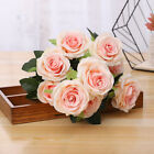 10 Heads Silk Rose Artificial Flowers Bunch in vase Bouquet Wedding Home Party