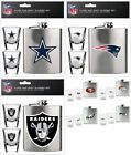 NFL Flask & Shot Glass Set, 2 Glasses Brushed Stainless Steel Choose Team $12.95 USD on eBay
