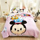 4pc Kids Mickey&Minnie Cotton Bedding Duvet Cover Pillowcases Cartoon Pink Cute  image