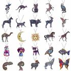 Colorful Printing Necklace Flower Animal Cat Horse Dog Sun Moon Pendant Chain